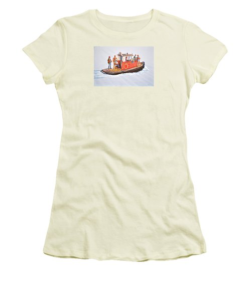 Women's T-Shirt (Junior Cut) featuring the painting Into The Mist-the Crew Boat by Gary Giacomelli