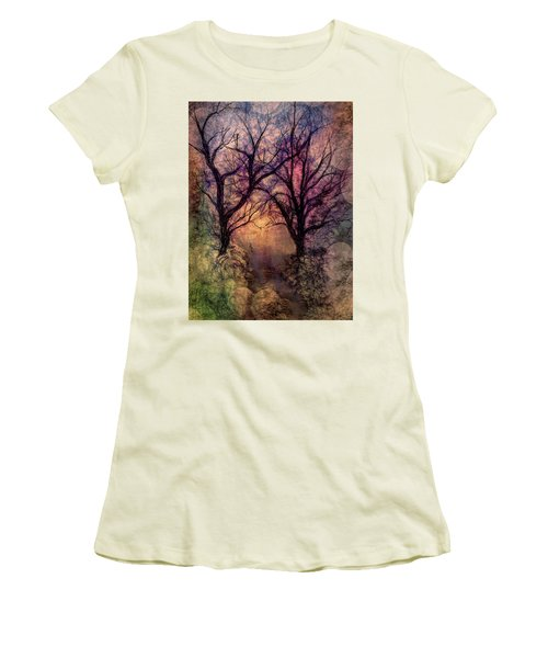 Into The Woods Women's T-Shirt (Junior Cut) by Annette Berglund