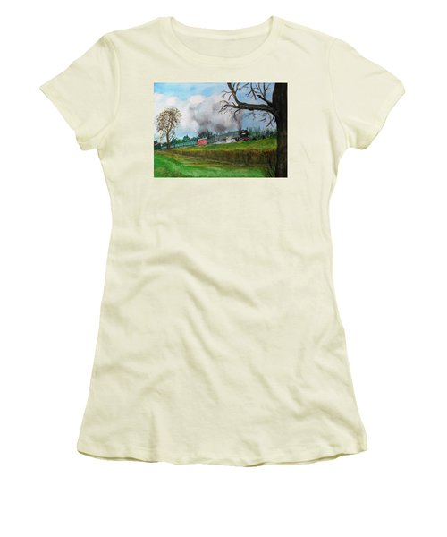 It's All Uphill To Scotland Women's T-Shirt (Junior Cut) by Carole Robins