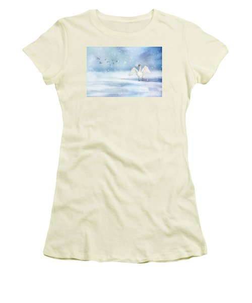 Women's T-Shirt (Junior Cut) featuring the photograph It's Snowing by Annie Snel