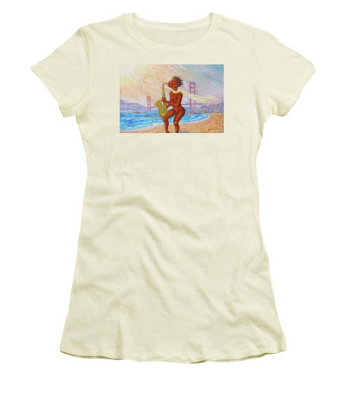 Women's T-Shirt (Athletic Fit) featuring the painting Jazz San Francisco by Xueling Zou