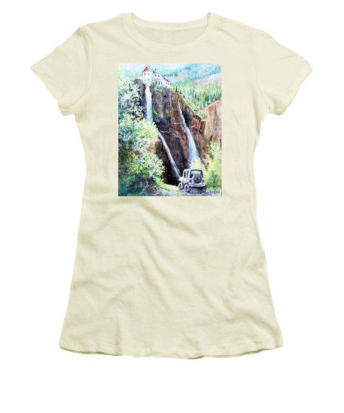 Women's T-Shirt (Junior Cut) featuring the painting Jeeping At Bridal Falls  by Linda Shackelford
