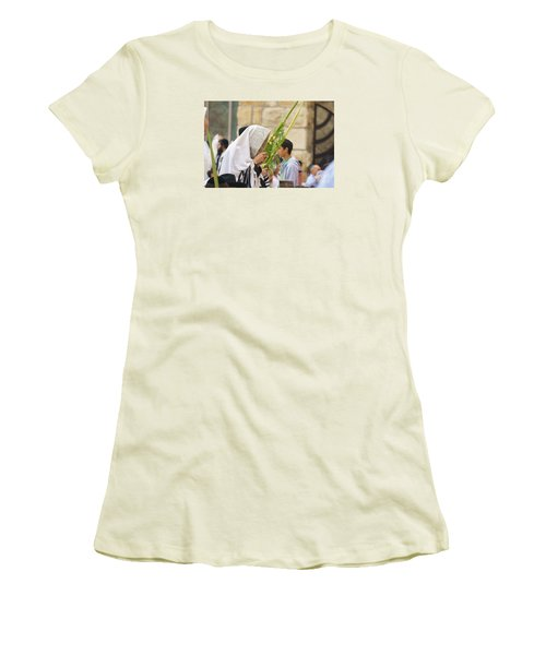 Jewish Sunrise Prayers At The Western Wall, Israel 6 Women's T-Shirt (Athletic Fit)