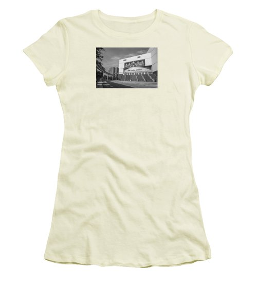 Joe Louis Arena Black And White  Women's T-Shirt (Junior Cut) by John McGraw