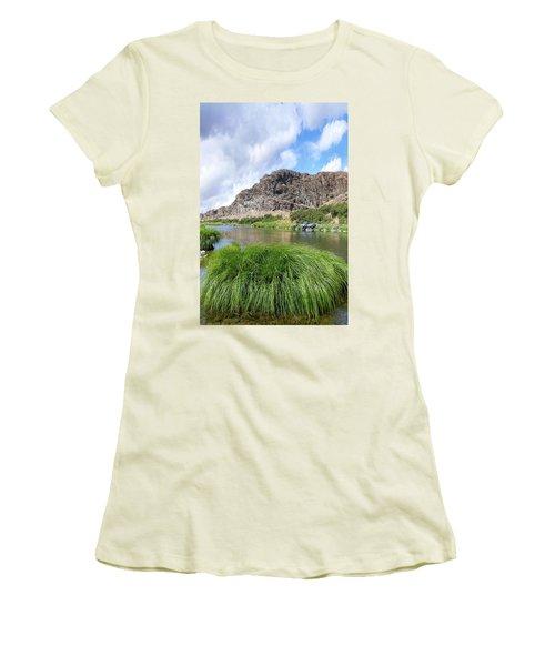 John Day River Landscape In Summer Portrait Women's T-Shirt (Athletic Fit)