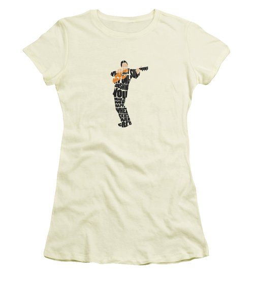 Women's T-Shirt (Athletic Fit) featuring the painting Johnny Cash Typography Art by Inspirowl Design