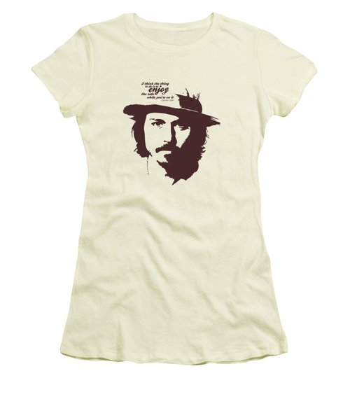 Johnny Depp Minimalist Poster Women's T-Shirt (Junior Cut) by Lab No 4 - The Quotography Department