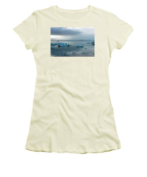 Women's T-Shirt (Athletic Fit) featuring the photograph Jokulsarlon, The Glacier Lagoon, Iceland 1 by Dubi Roman