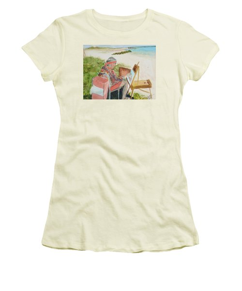 Women's T-Shirt (Junior Cut) featuring the painting Julia Painting At Boynton Inlet Beach  by Donna Walsh