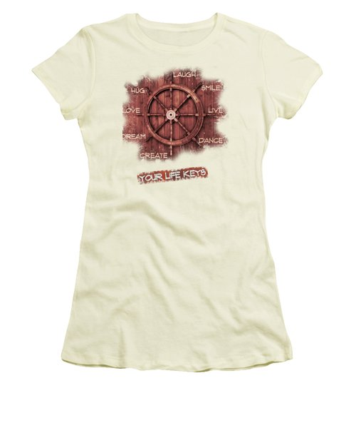 Keys To Happiness Typography On Wooden Helm Women's T-Shirt (Athletic Fit)