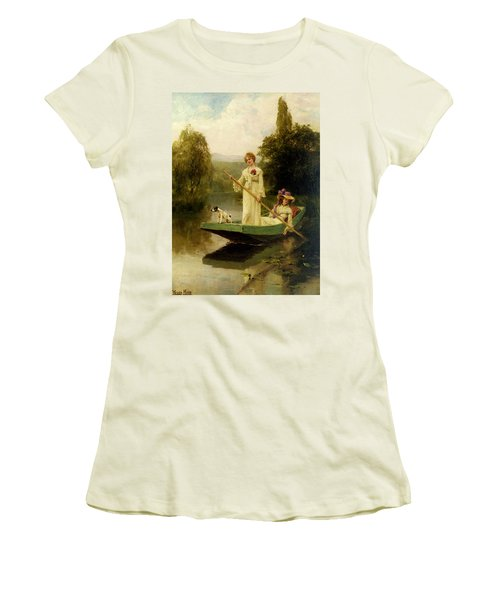 King Henry John Yeend Two Ladies Punting On The River Women's T-Shirt (Athletic Fit)