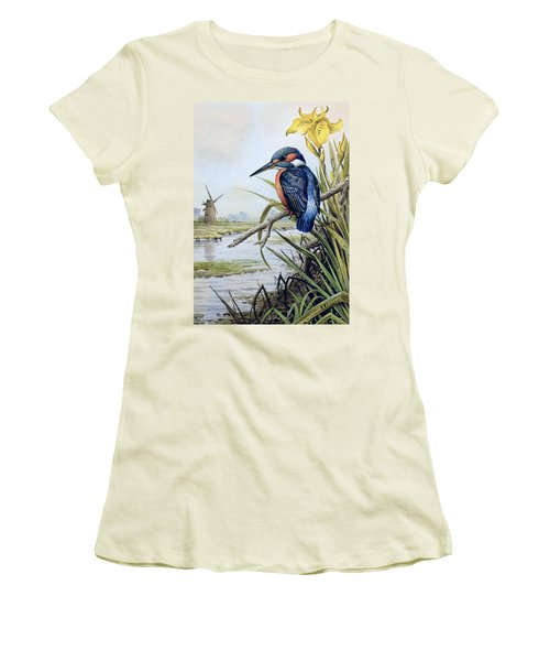 Kingfisher With Flag Iris And Windmill Women's T-Shirt (Junior Cut) by Carl Donner