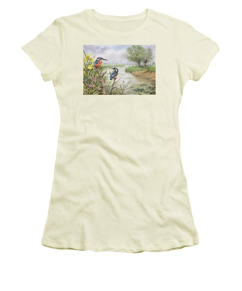 Kingfishers On The Riverbank Women's T-Shirt (Athletic Fit)