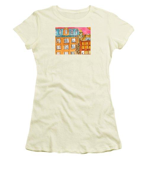 Kittyscape Hotel Women's T-Shirt (Junior Cut) by Lou Belcher