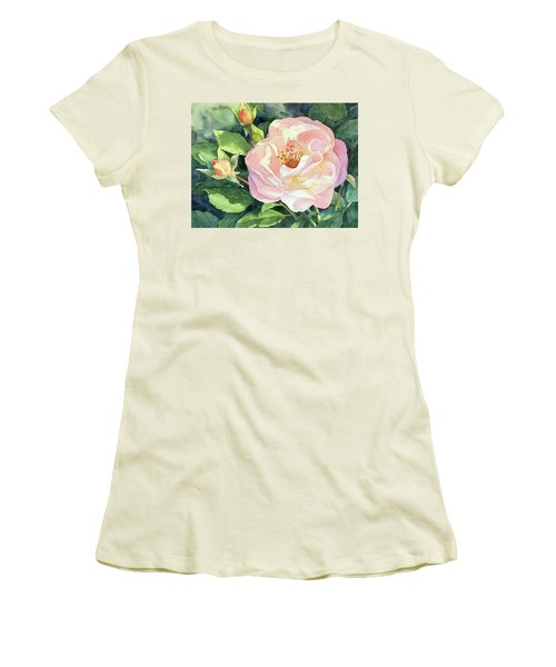 Women's T-Shirt (Junior Cut) featuring the painting Knockout Rose And Buds by Vikki Bouffard