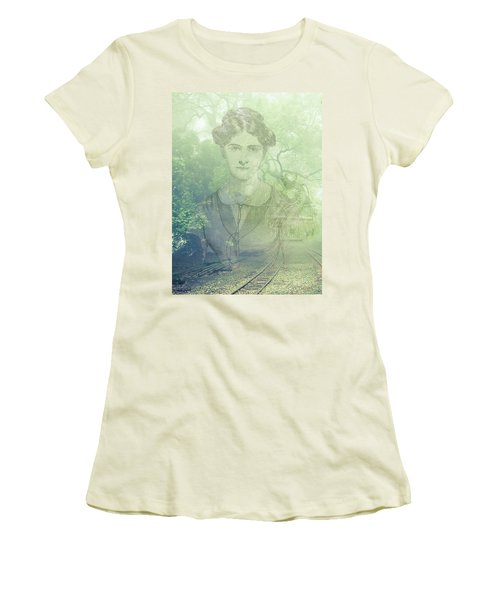 Women's T-Shirt (Junior Cut) featuring the mixed media Lady On The Tracks by Angela Hobbs