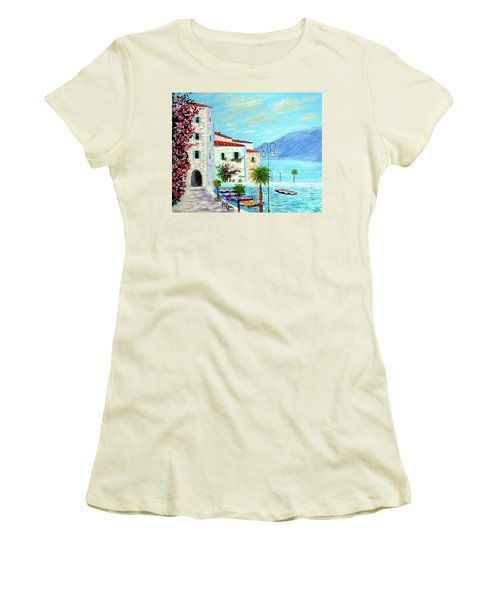 Women's T-Shirt (Junior Cut) featuring the painting Lake Garda Bliss by Larry Cirigliano
