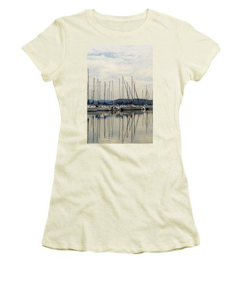 Lake Guntersville Alabama Sailboat Harbor Women's T-Shirt (Junior Cut) by Kathy Clark