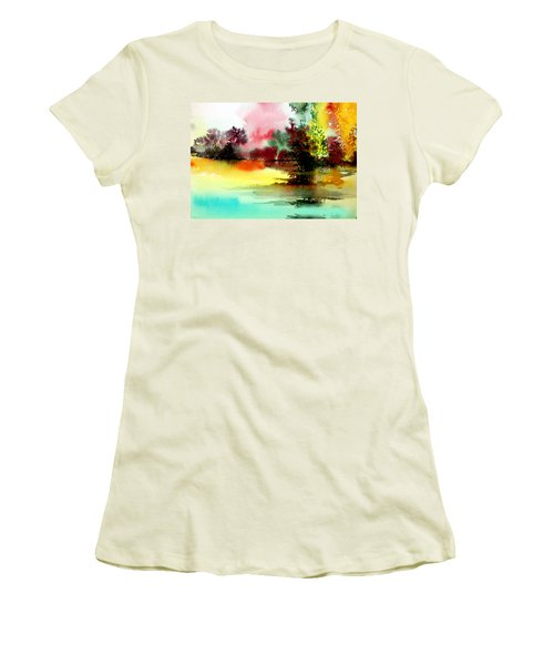 Lake In Colours Women's T-Shirt (Junior Cut) by Anil Nene