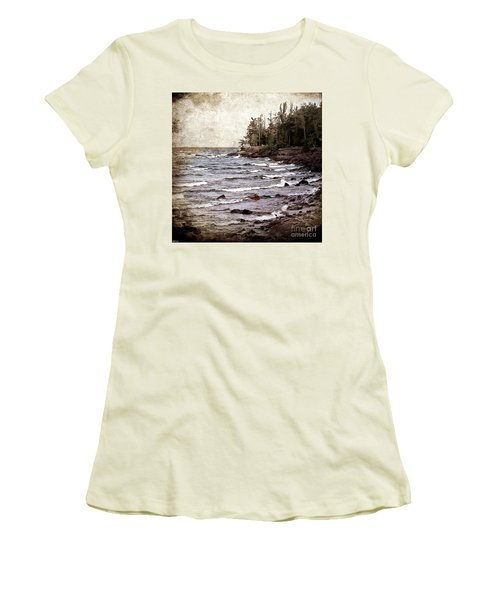 Women's T-Shirt (Junior Cut) featuring the photograph Lake Superior Waves by Phil Perkins