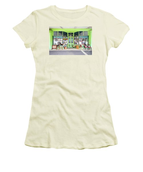 Women's T-Shirt (Athletic Fit) featuring the photograph Lanchoo Or Bushells? by Linda Lees