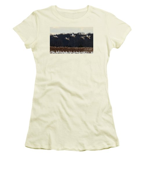 Women's T-Shirt (Junior Cut) featuring the photograph Landing by Tamera James