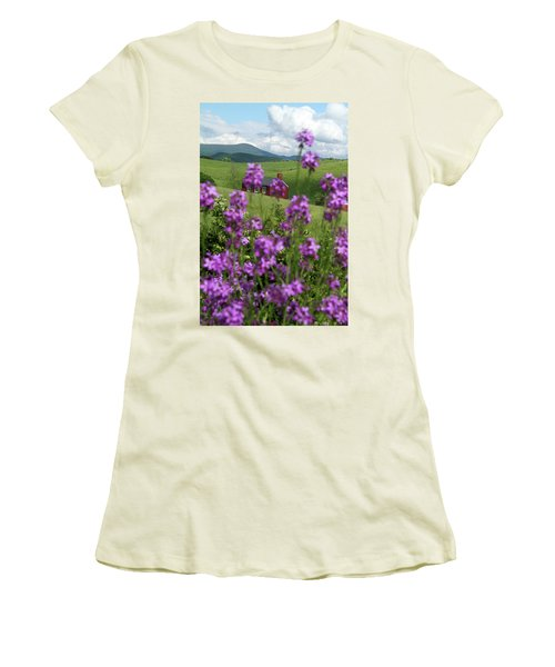 Landscape With Purple Flowers In Virginia Women's T-Shirt (Athletic Fit)