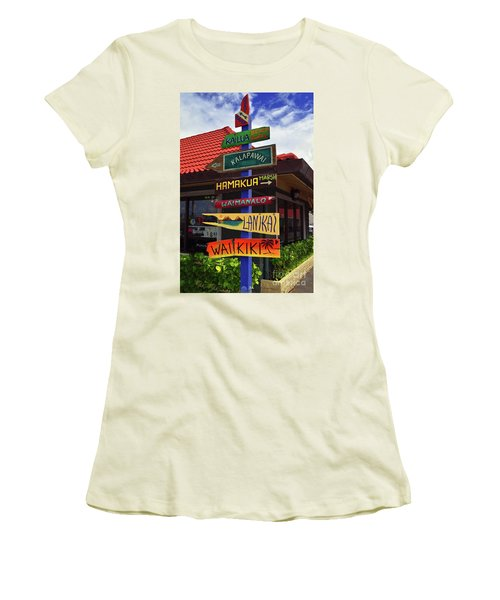 Lanikai Kailua Waikiki Beach Signs Women's T-Shirt (Junior Cut) by Aloha Art