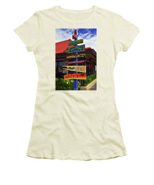 Lanikai Kailua Waikiki Beach Signs Women's T-Shirt (Athletic Fit)