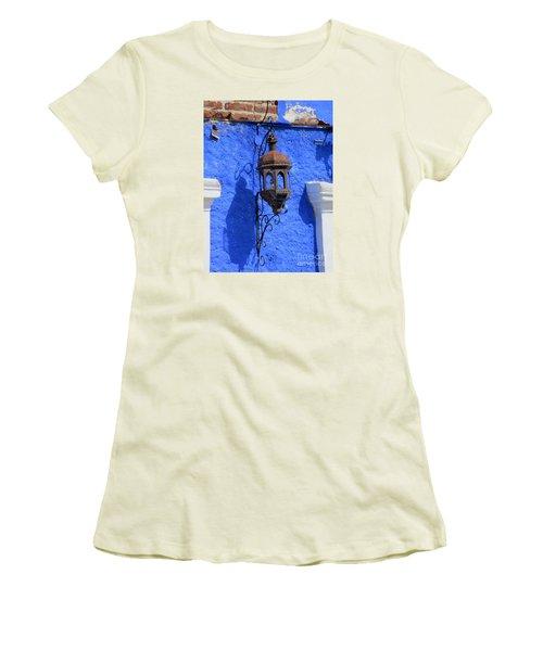 Lantern On Blue Wall Women's T-Shirt (Junior Cut) by Randall Weidner