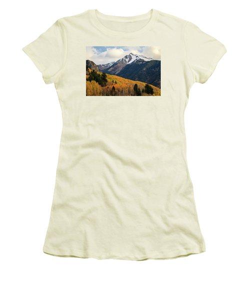 Women's T-Shirt (Junior Cut) featuring the photograph Last Light Of Autumn by David Chandler
