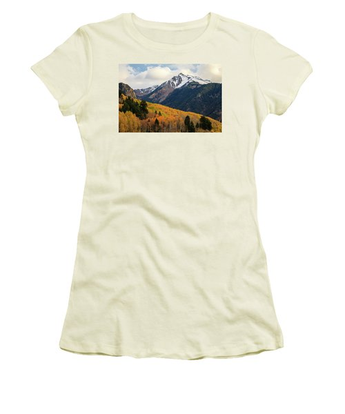 Women's T-Shirt (Athletic Fit) featuring the photograph Last Light Of Autumn by David Chandler