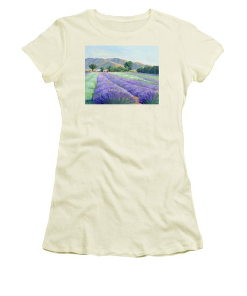 Women's T-Shirt (Junior Cut) featuring the painting Lavender Lines by Sandy Fisher