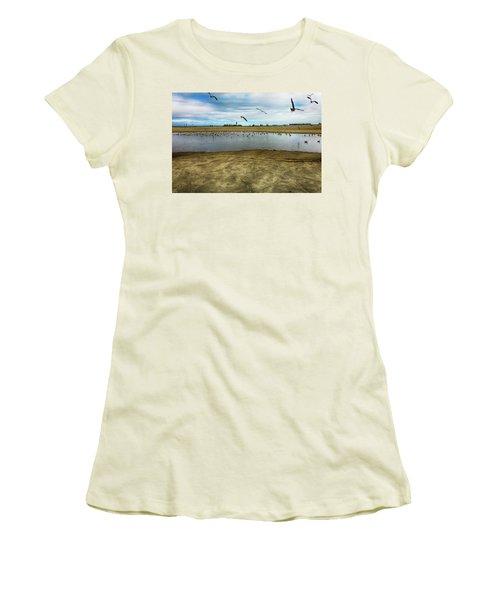 Lb Seagull Pond Women's T-Shirt (Junior Cut) by Joseph Hollingsworth
