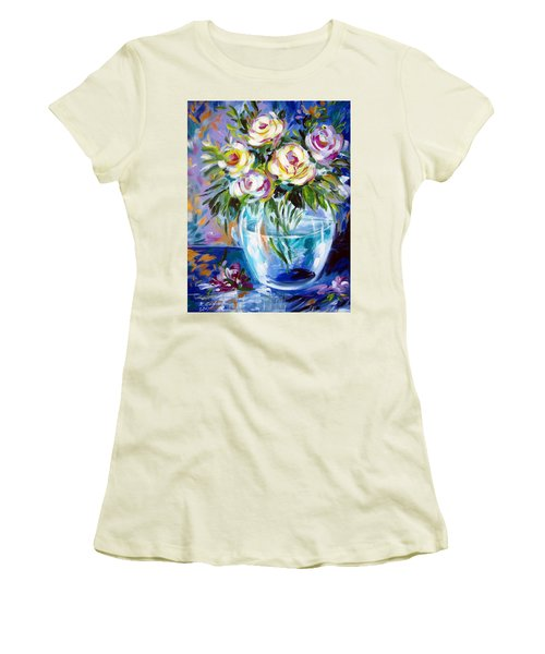 Women's T-Shirt (Junior Cut) featuring the painting Le Rose Bianche by Roberto Gagliardi