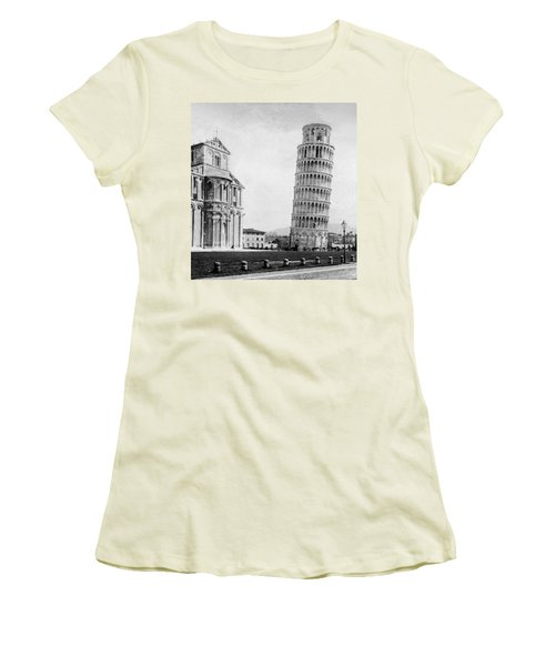 Leaning Tower Of Pisa Italy - C 1902  Women's T-Shirt (Junior Cut) by International  Images