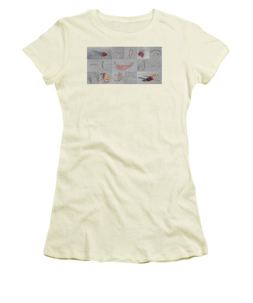 Women's T-Shirt (Junior Cut) featuring the photograph Leaves And Cracks Collage by Ben and Raisa Gertsberg