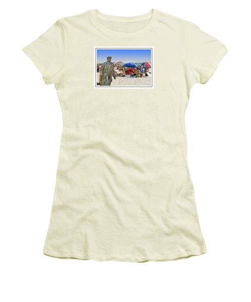 Lenin Goes To The Beach White Border Women's T-Shirt (Athletic Fit)