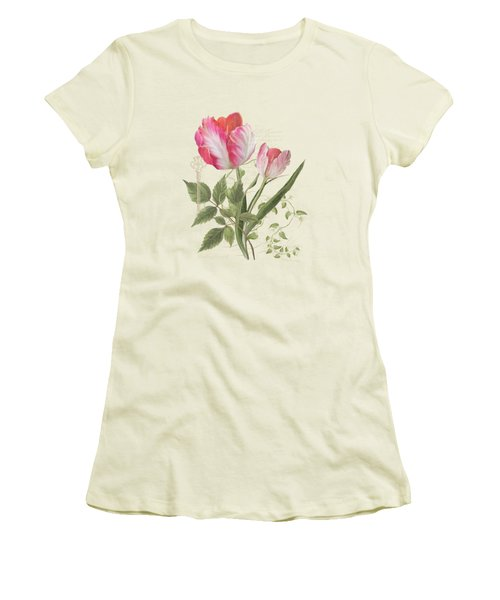 Women's T-Shirt (Junior Cut) featuring the painting Les Magnifiques Fleurs I - Magnificent Garden Flowers Parrot Tulips N Indigo Bunting Songbird by Audrey Jeanne Roberts