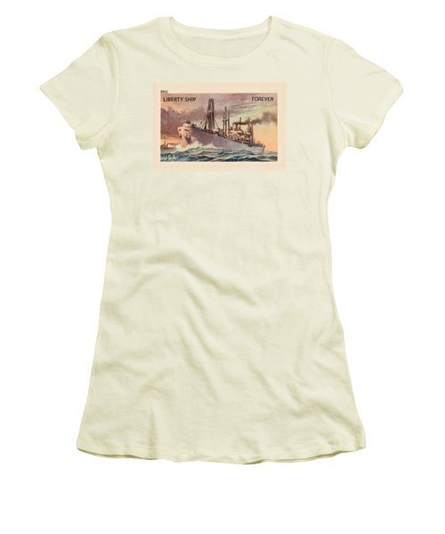 Liberty Ship Stamp Women's T-Shirt (Athletic Fit)