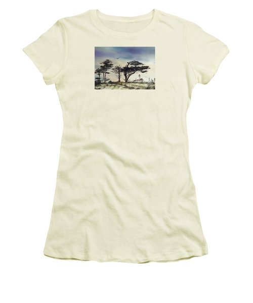 Women's T-Shirt (Junior Cut) featuring the painting Lighthouse Coast by James Williamson