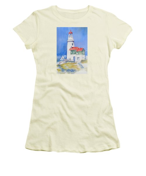 Women's T-Shirt (Junior Cut) featuring the painting Lighthouse by Mary Haley-Rocks