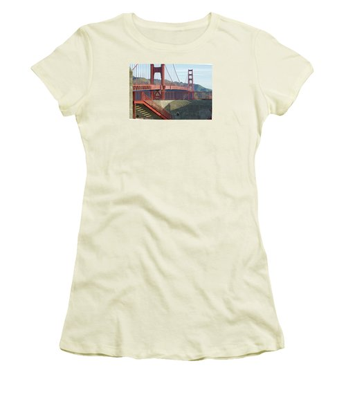 Women's T-Shirt (Athletic Fit) featuring the photograph Linear Golden Gate Bridge by Steve Siri