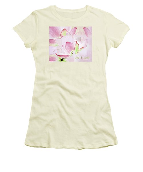 Women's T-Shirt (Junior Cut) featuring the digital art Live N Love - Absf17 by Variance Collections