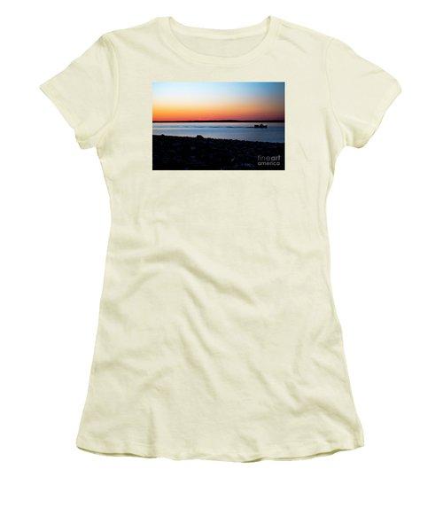 Lobster Boat In Maine Women's T-Shirt (Junior Cut) by Diane Diederich
