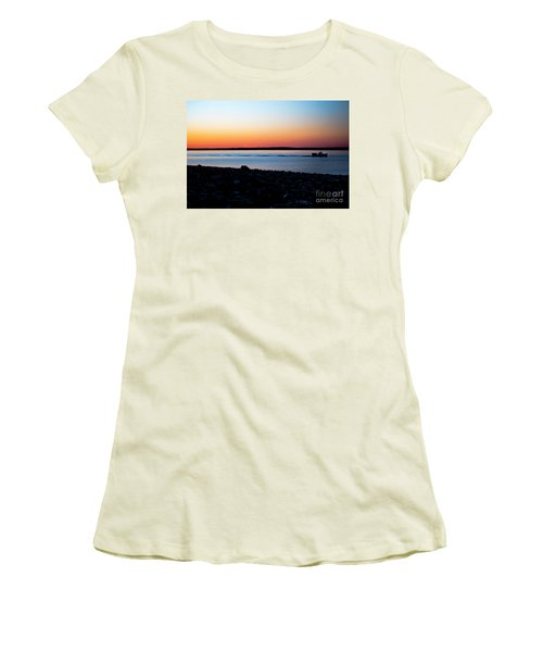 Lobster Boat In Maine Women's T-Shirt (Athletic Fit)