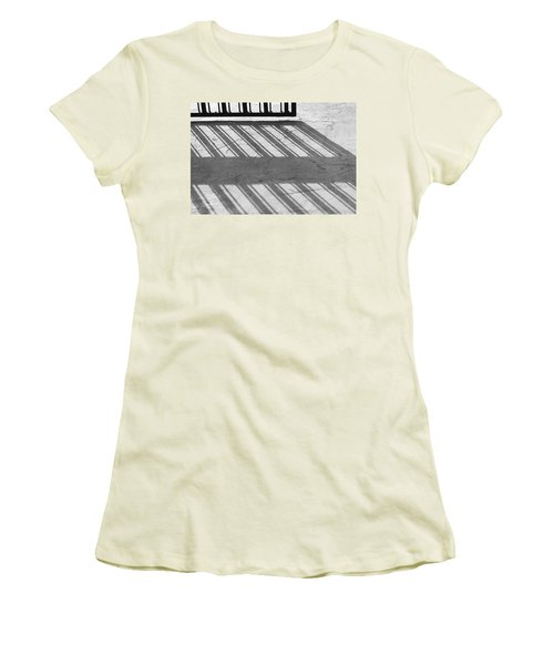 Women's T-Shirt (Junior Cut) featuring the photograph Long Shadow Of Metal Gate by Prakash Ghai