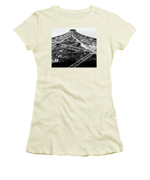 Women's T-Shirt (Junior Cut) featuring the photograph Looking Up From The Eiffel Tower by Darlene Berger