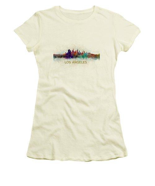 Los Angeles City Skyline Hq V4 Women's T-Shirt (Junior Cut) by HQ Photo