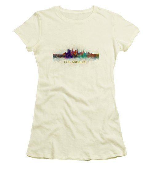 Los Angeles City Skyline Hq V4 Women's T-Shirt (Athletic Fit)